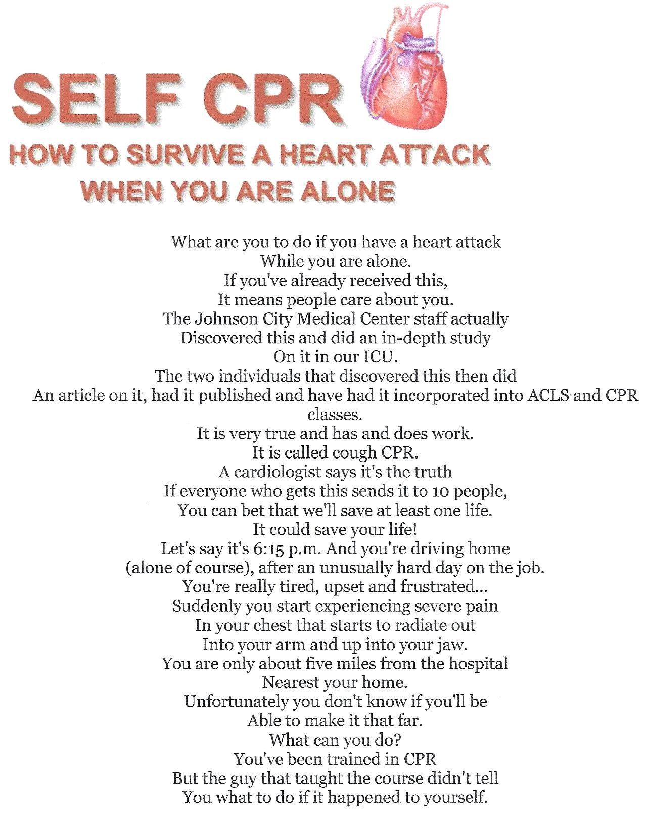 What Are You To Do If You Have A Heart Attack While Alone